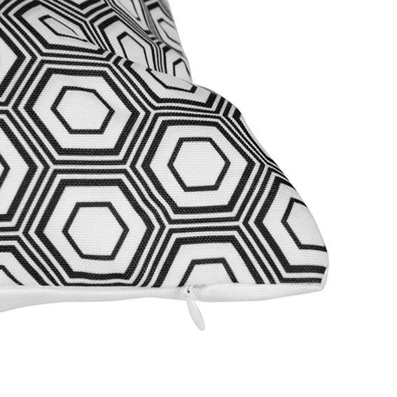Coussin 40 x 40 cm grafic noir blanc boutique baia - Coussin ethnique noir et blanc ...