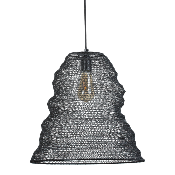 Suspension Conique Maille Fer Noir  D.40 x H.42 cm