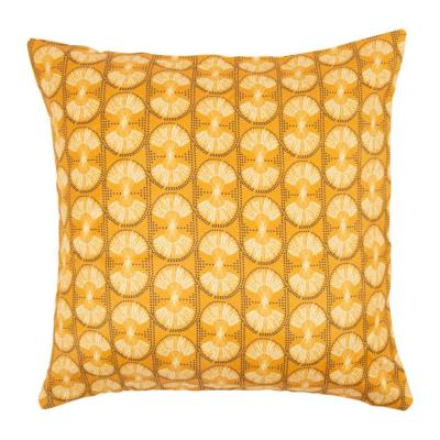 Coussin Jaune Moutarde Tissu Africain Palm 40 x40 cm