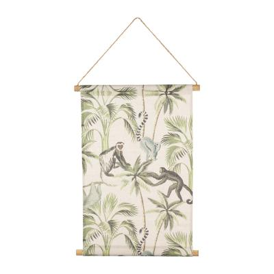 Toile Singes & Palmiers Suspendue Tropical Vintage  50 x 70 cm