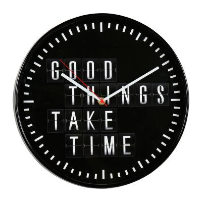 Horloge Industrielle Noire Good Things Take Time Diamètre 30 cm