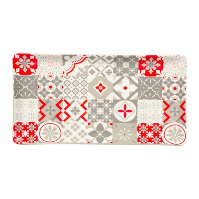 Plat Rectangle Gris/Rouge Motifs Carreaux de Ciment Cuisine FRIDA