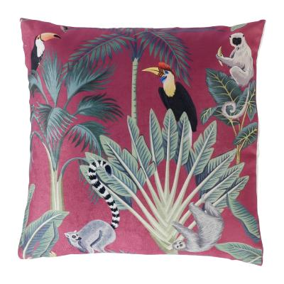 Coussin Rose Animal Tropical Feuille Palmier 40 x 40 cm