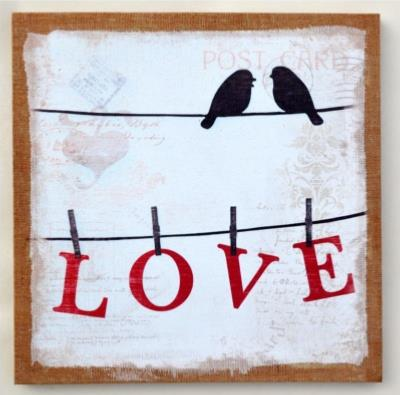 Toile oiseaux sur fil love d coration murale for Decoration murale love