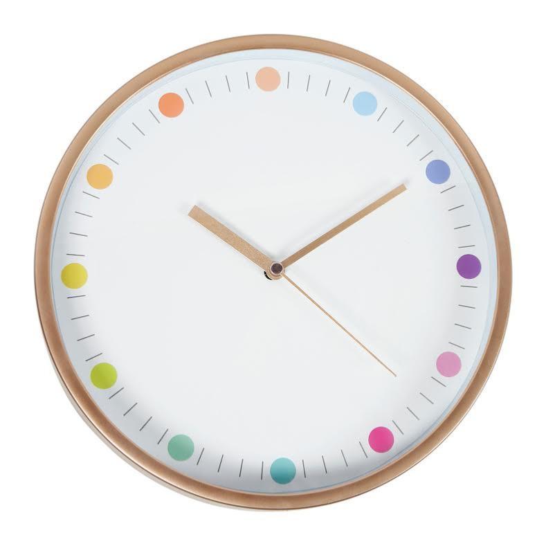 Horloge murale cuivre pois couleurs boutique baia for Horloge murale multicolore