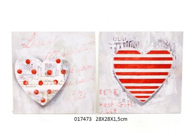 Tableau Toile Coeurs Rouge & Gris - Pois ou Rayures