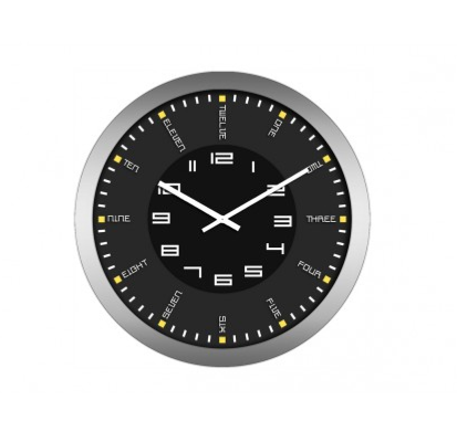 Horloge moderne inox verre tremp pendule murale tempo for Pendule cuisine inox