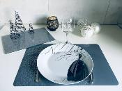 Set de Table Gris Anthracite Motifs Paons